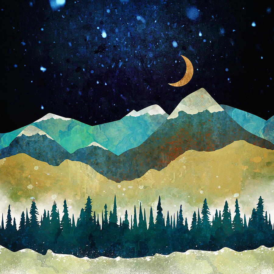 ~~~ Snow Digital Art  Snowy Night  Abstract landscape of snowy night and moon 6600*6600PX